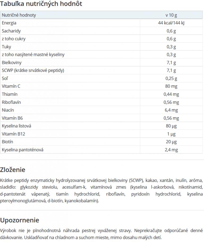 Nutričné hodnoty Extrapep HD
